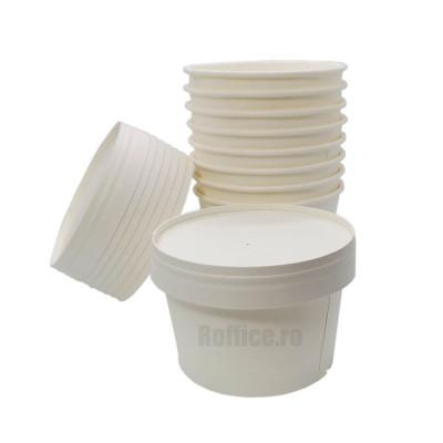Boluri din carton 500ml albe cu capace din carton alb - 0.68 lei/buc (200 buc/set)