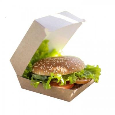 Cutii carton Kraft natur Hamburger Mare 130x130x95