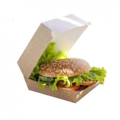 Cutii carton Kraft natur Hamburger Mediu 117x106x89