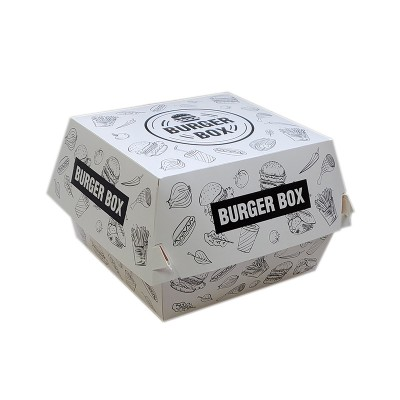 Cutii hamburger mare albe design urban (100buc/set)