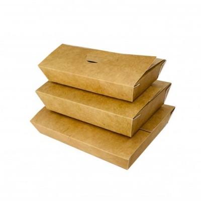 Cutii meniu carton kraft natur mari (143x195x35) (80buc/set)