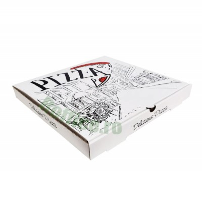 Cutii pizza URBAN albe 45 cm (50 buc/bax)