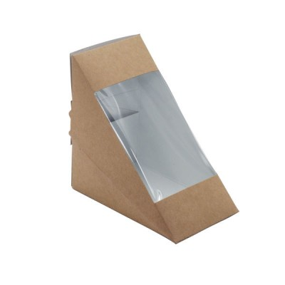 Cutii natur triunghi sandwich 75mm cu fereastra (100buc/set)