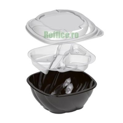 Caserole salata compartimentate cu suport tacam  (50 buc/set)