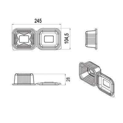 Caserole LIMERA din plastic cu capac atasat 150 cc - 0.16 lei / buc  (1.000 buc/bax)