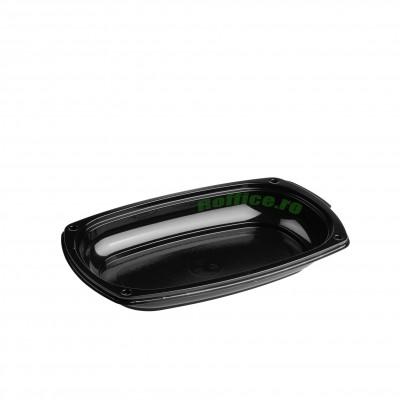 Platouri ovale negre 295 groase APET - 1100CC (10buc/set)