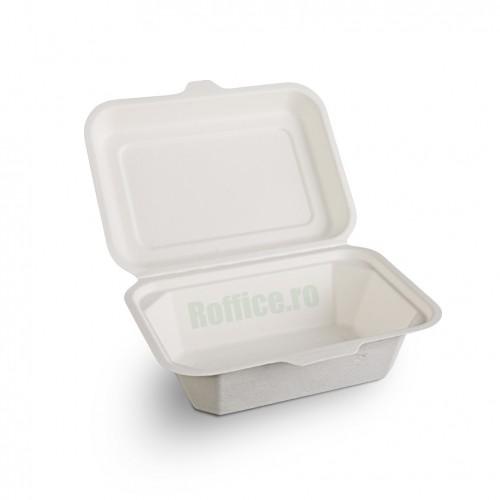 Caserole Biodegradabile albe, 1 compartiment, 18.3x13.6x6.9 (600 buc/bax)