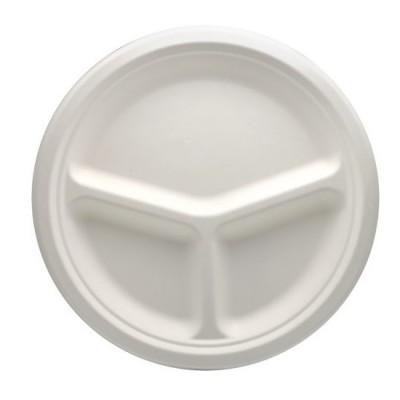 Farfurii biodegradabile din trestie de zahar, 26 cm cu 3 compartimente - 0.56 lei / buc (50 buc/set)