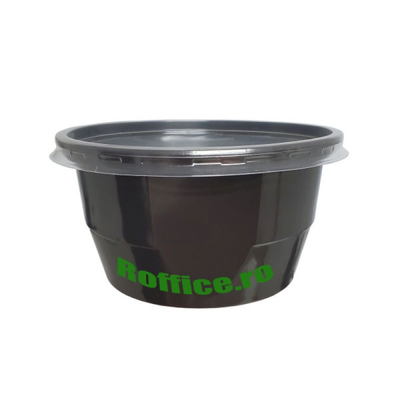 Boluri supe PP 560 ml negre + capac transparent  - 0.5 lei / buc (300 buc/bax)