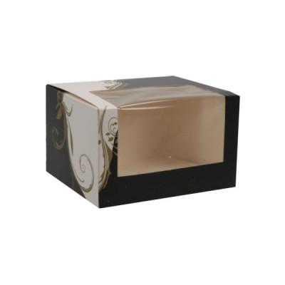 Cutii negru cu alb cu fereastra 13x11x8 (50buc)