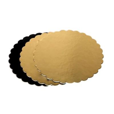 Discuri aurii si negre floare 20 cm (25 buc/set)