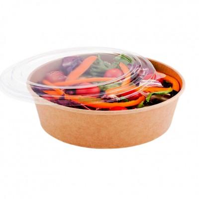 Bol salata din carton 1300cc (ORIGINAL KRAFT) + capac transparent (50 buc/set)