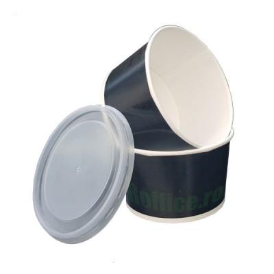 Boluri din carton negru, 16oz/473ml + capace - 0.38 lei/buc (50 buc/set)
