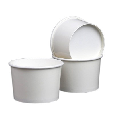 Boluri din carton alb gros, pentru supe si ciorbe 500cc + capac plastic PP (100 buc/set)
