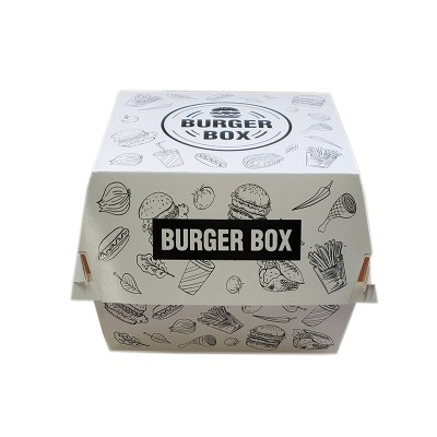 Cutii hamburger mare H11 albe design urban (100buc/set)