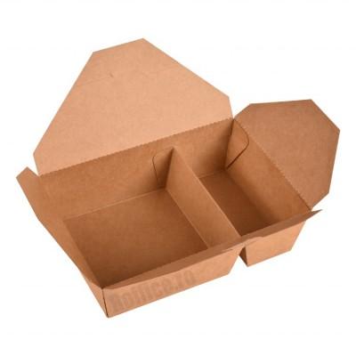 Cutii din carton compartimentate, kraft natur, pentru meniuri - 1.3 lei/buc (50 buc/set)