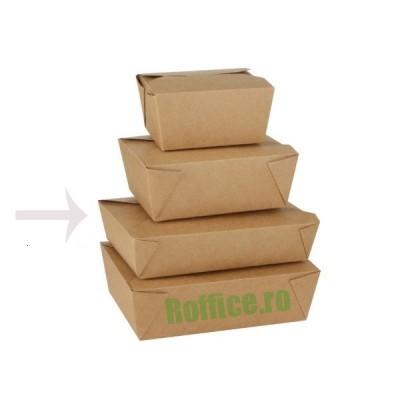 Cutii meniu din carton kraft nature 1000cc (215x160x50) - 0.98 lei/buc (50 buc/bax)