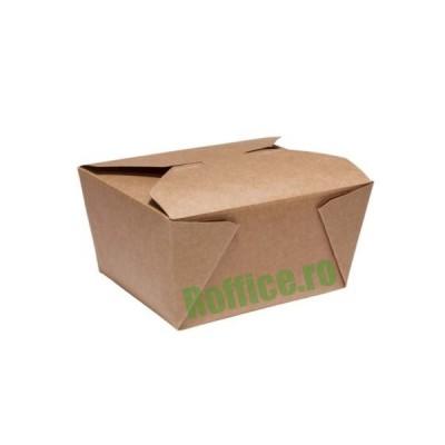 Cutii meniu din carton kraft nature 600ml (130x105x64) - 0.71 lei/buc (50 buc/set)