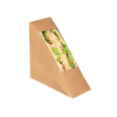 Cutii natur triunghi sandwich 55mm cu fereastra (100buc/set)