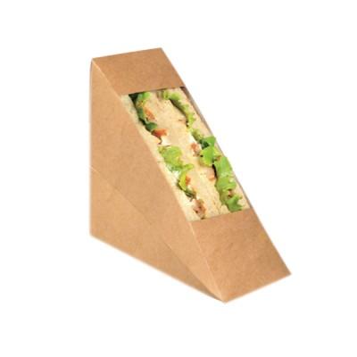 Cutii natur triunghi sandwich 65mm cu fereastra (100buc/set)