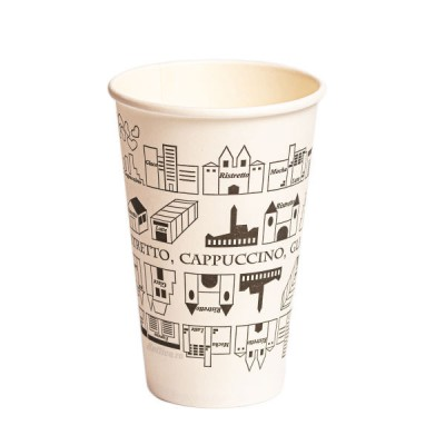 Pahare din carton 12OZ imprimate cu model urban (50buc/set)