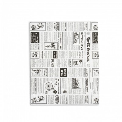Hartie pentru ambalat rezistenta la grasimi, 35x25, model ziar (2326 buc/top)