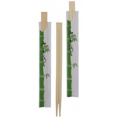 Betisoare chinezesti din bambus (Chopsticks) ambalate in hartie - 100 buc/set