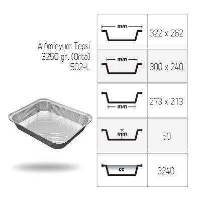 Tava aluminiu S-931, 322x262, 3250 cc (100 buc/set)