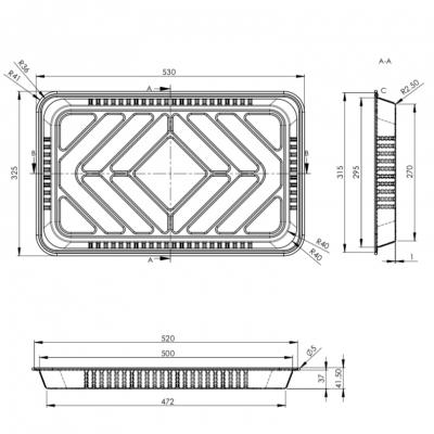 Tava aluminiu S925G, 530x325, 5200 cc (10 buc/set)