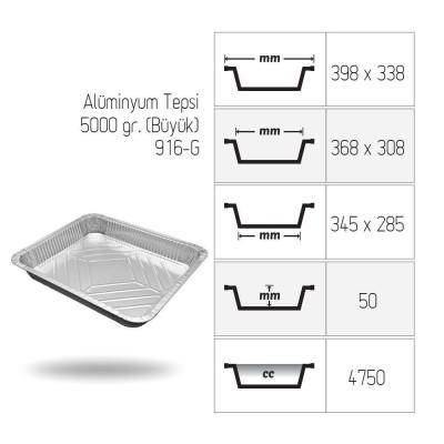 Tava aluminiu S910, 398x338, 5000 cc (10 buc/set)