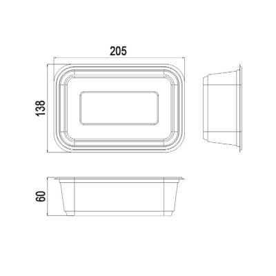 Caserole Limera transparente 1000 cc (100buc/set)