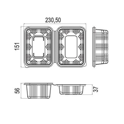 Caserole LIMERA din plastic cu capac inalt 600 cc (800buc/bax)