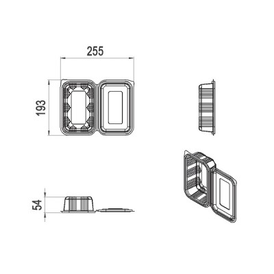Caserole LIMERA din plastic cu capac atasat 750 cc (600buc/bax)