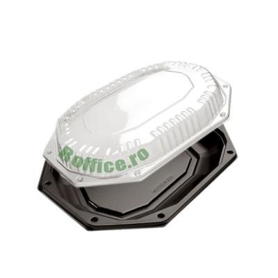Capace pentru platouri ovale negre 335 groase APET - 1500CC (10buc/set)