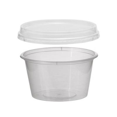 Sosiere din plastic, rotunde de 50 cc PET cu capac detasabil - 0.10 lei/buc (1000 buc/bax)