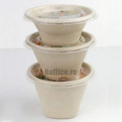 Boluri biodegradabile din trestie de zahar, natur, rotunde, 250cc (100 buc/set)