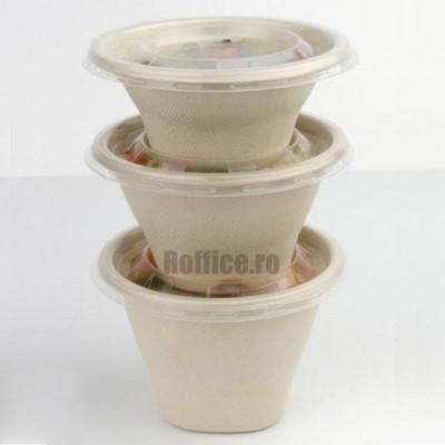 Boluri biodegradabile din trestie de zahar, natur, rotunde, 500cc (100 buc/set)