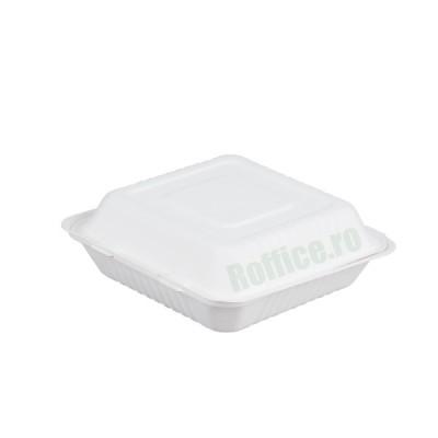 Caserole Biodegradabile albe, 1 compartiment, 22.8x23x8 (200 buc/bax)