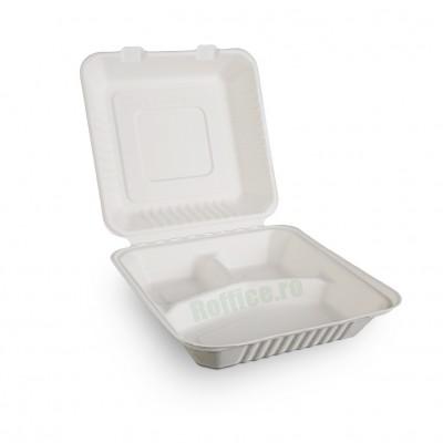 Caserole Biodegradabile albe, 3 compartimente, 1400 cc,  23x23x7.5 (50 buc/set)