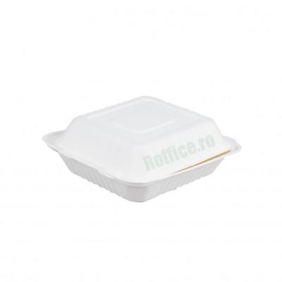 Caserole Biodegradabile albe, 1 compartiment, 20.5x20.5x6.5 (200 buc/bax)