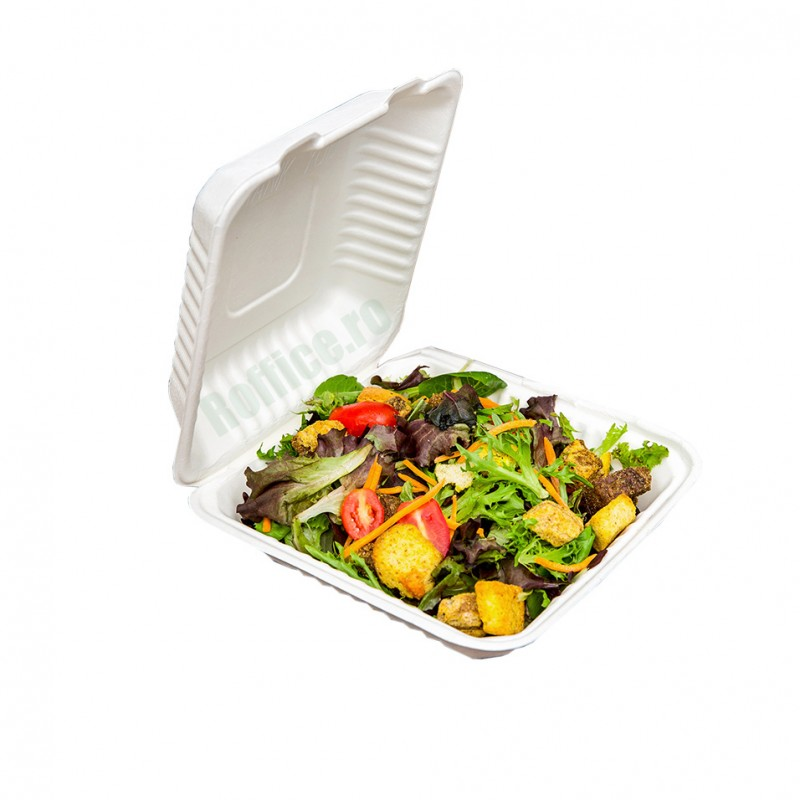 Caserole Biodegradabile albe, 1 compartiment, 1400 cc, 23x23x7.5 (50 buc/set)
