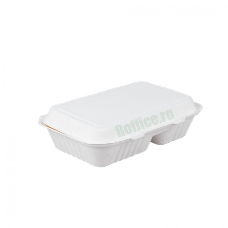 Caserole Biodegradabile albe, 2 compartimente 23x15.5x81 (250 buc/bax)
