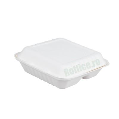 Caserole Biodegradabile albe, 3 compartimente, 20.5x20.5x66 (200 buc/bax)