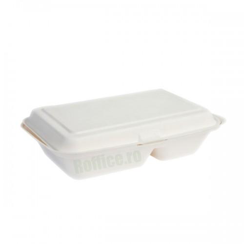 Caserole Biodegradabile albe, 2 compartimente, 800 cc, 20.5x14.5x65 (500 buc/bax)
