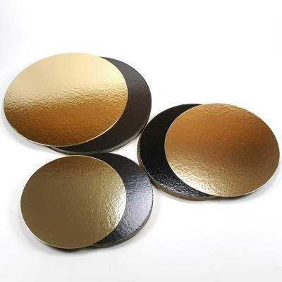 Discuri aurii si negre carton 16 cm (100 buc/set)